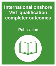 Green box with link to the international onshore VET qualification completer outcomes publication